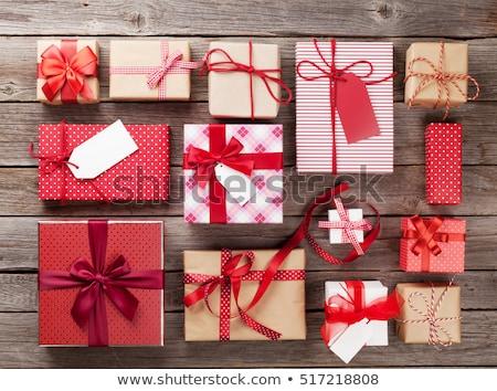 Noel hediyeler kutuları sınır beyaz Stok fotoğraf © ozgur