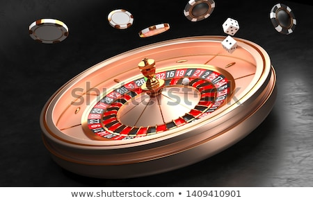 Black gambling chips and dices. 3D Stock photo © djmilic