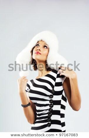 vrouw · zwart · haar · sexy · jurk · geïsoleerd · witte - stockfoto © iordani