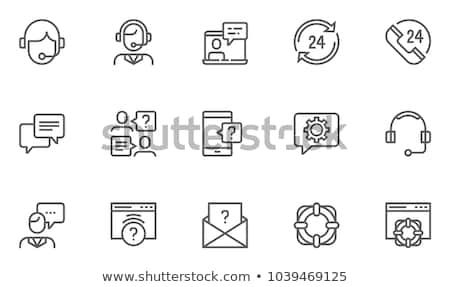 Foto stock: Call · center · homem · ícone · projeto · telefone · assinar