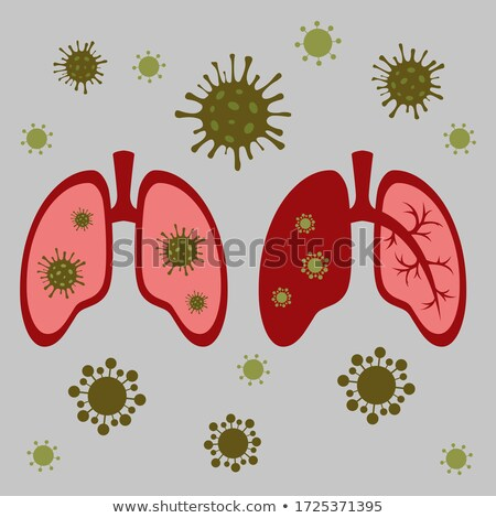 Pneumonia illustration, human silhouette with lungs, close up of Stock photo © Tefi