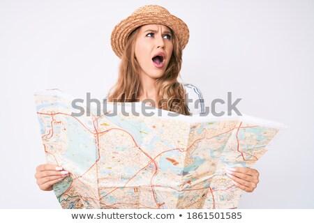 путешественник · кричали · указывая · пальца · право - Сток-фото © rastudio