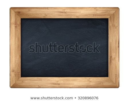little blank black board on old wood background Stock photo © feedough