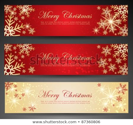 christmas · banners · collectie · vier · beige · ontwerp - stockfoto © swillskill