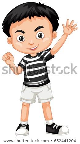 Fiú fekete póló fehér rövidnadrág illusztráció Stock fotó © bluering
