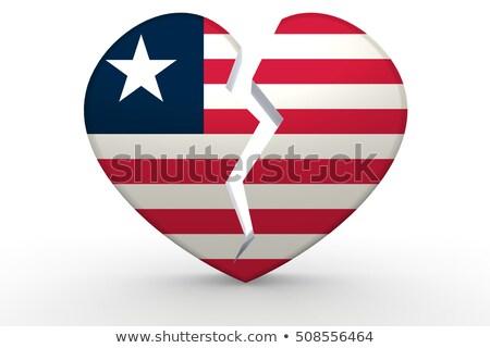 broken white heart shape with liberia flag stock photo © tang90246