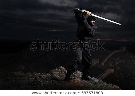 Komoly nindzsa kard karakter kéz fekete Stock fotó © ayaxmr
