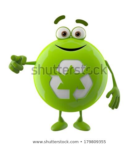 Recycleren teken 3D karakter witte groene Stockfoto © make