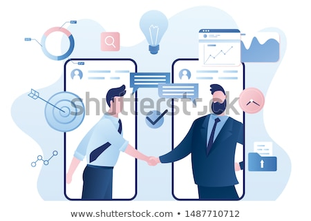 Online business. Web agreement. Handshake of businessmen. Boss f Stock photo © MaryValery