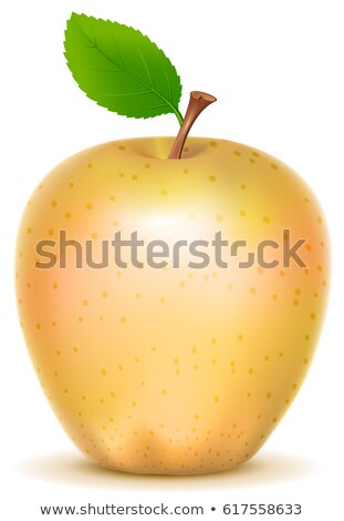 Yellow transparent sort apple with green leaf Stock photo © orensila