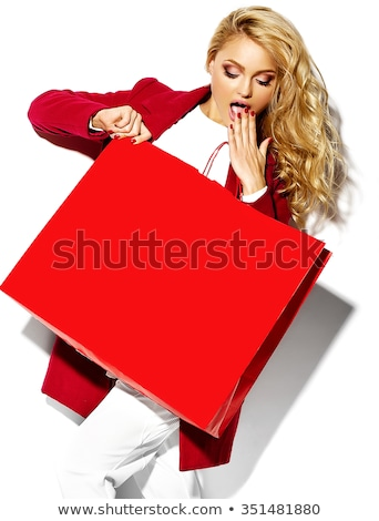 Cute blond hair girl with credit / customer card - isolated on w Stock photo © lordalea