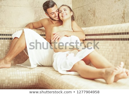 young couple of lovers kissing in turkish steam room bath   rom stock photo © disobeyart