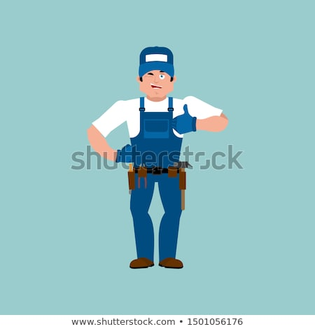 Plumber thumbs up. Fitter winks emoji. Service worker Serviceman Stock photo © popaukropa