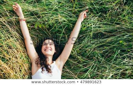 女性 乾草 幸福 レジャー 屋外 日 ストックフォト © IS2