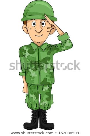 Saluting Soldier Cartoon  Stock photo © Krisdog