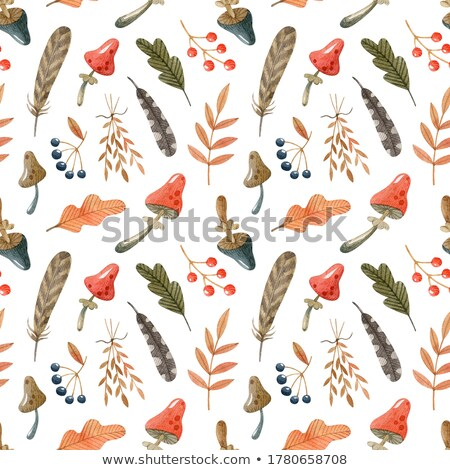 pattern with artistically drawn mushrooms stock photo © frescomovie