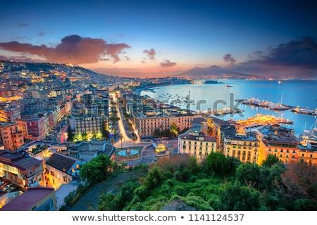 Nápoly szürkület Olaszország sziluett óváros égbolt Stock fotó © joyr