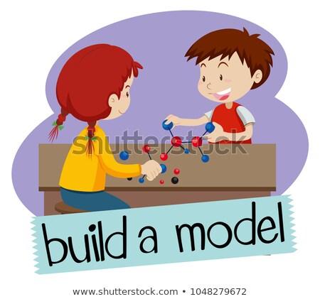 Construir modelo dois crianças brincando ilustração menina Foto stock © bluering