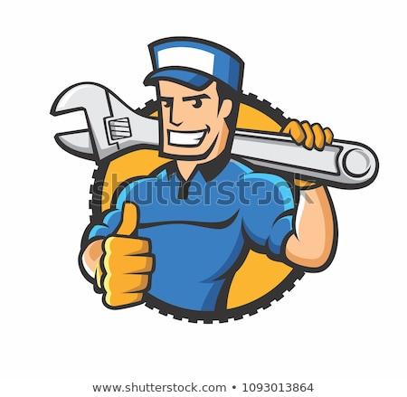 Stock photo: Man repairman with a wrench