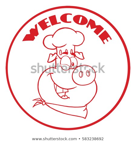 Winking Chef Pig Cartoon Mascot Character Red Circle Banner With Text Welcome Stock photo © hittoon