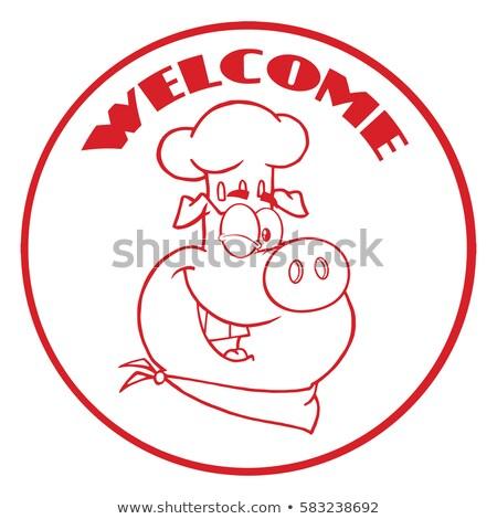 Kacsintás szakács disznó rajzfilm kabala karakter piros Stock fotó © hittoon