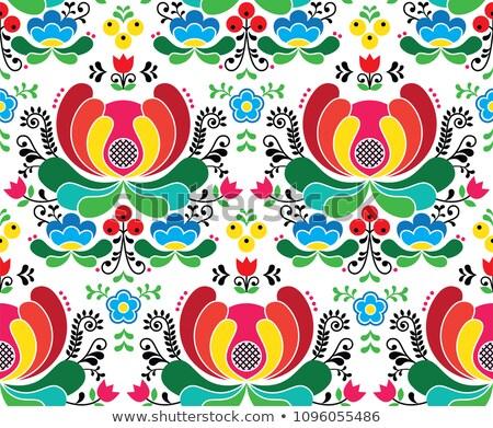 Seamless Norwegian vector folk art pattern - Rosemaling style embroidery background Stock photo © RedKoala