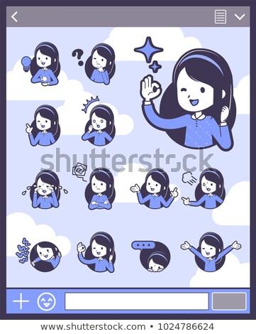 Type Blauw kleding 15 familie vrouwen Stockfoto © toyotoyo