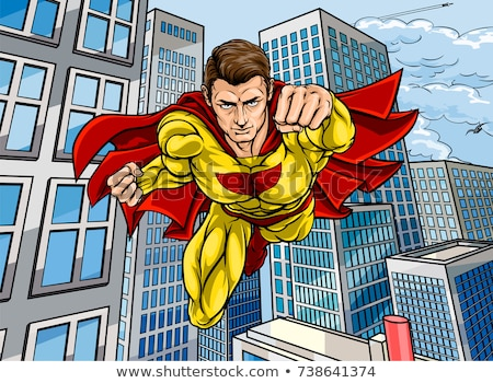 Caped Flying Super Hero City Scene Stock photo © Krisdog