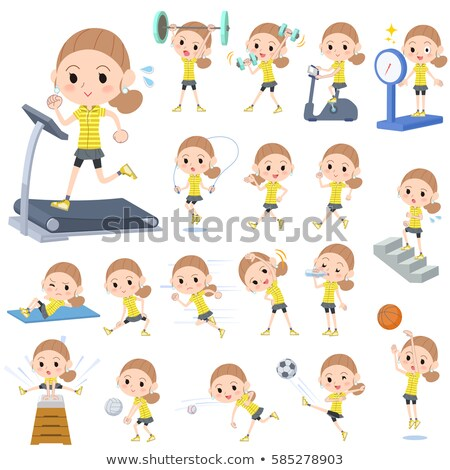 Behind knot hair yellow wear woman Sports & exercise Stock photo © toyotoyo