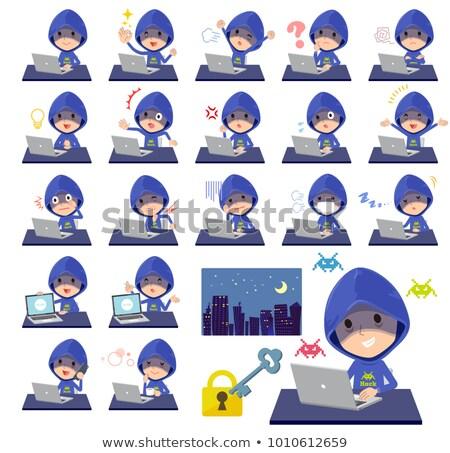 синий хакер работу служба улыбка ноутбука Сток-фото © toyotoyo