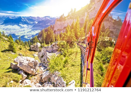 Leszármazás fogaskerék vasút turista tájkép Svájc Stock fotó © xbrchx