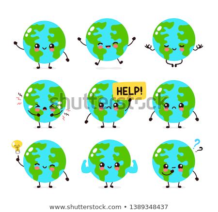 Triste cartoon terra illustrazione pianeta terra guardando Foto d'archivio © cthoman