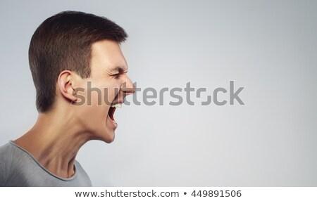 retrato · furioso · moço · isolado · preto - foto stock © deandrobot