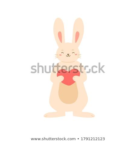 улыбаясь Кролики Лучшие друзья мальчика девушки счастливым Сток-фото © smeagorl