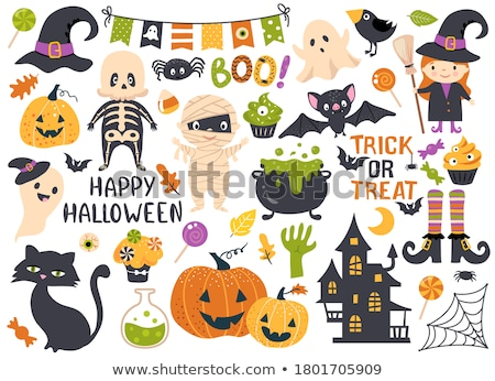 set of cute halloween tags vector hand drawn illustration stock photo © lemony