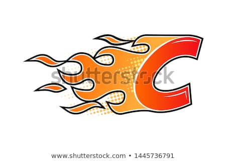 Red fire flat icon isolated on white background for danger concept or logo design. Flame and red fir Stock photo © MarySan