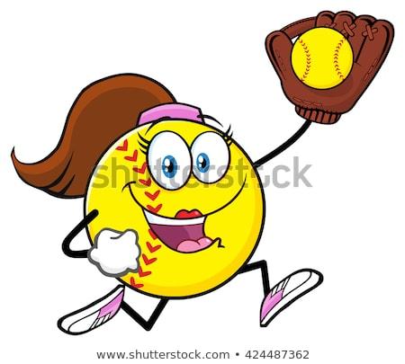 Girly Softball Cartoon Character Running With Glove And Ball Stock photo © hittoon