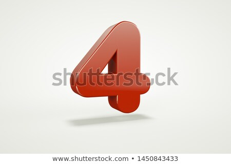 Red glossy font Number 4 FOUR 3D Stock photo © djmilic