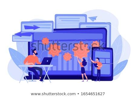 Foto stock: Atravessar · bicho · revelador · trabalhar · laptop