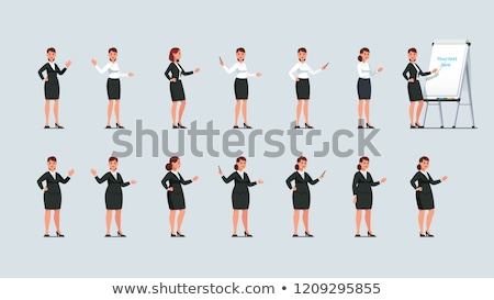 Vector woman pointing at flip chart whiteboard Stock photo © tele52