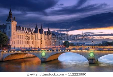 Foto stock: Paris · noite · pôr · do · sol · rio · rua · luzes