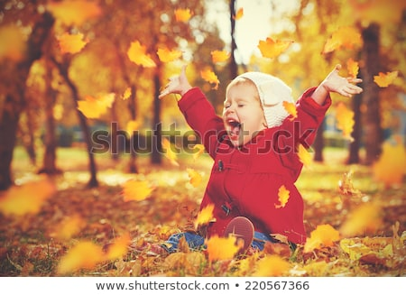 happy girl playing with leaves at autumn park stock photo © dolgachov