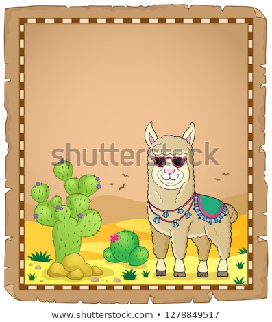 Llama with sunglasses theme parchment 1 Stock photo © clairev