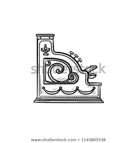 antique cash register machine hand drawn outline doodle icon stock photo © rastudio