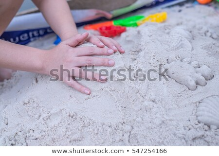 Kinetic Sand In A Heap For Indoor Game Or Children Creativity. Forms for the construction of the kin Stock photo © galitskaya
