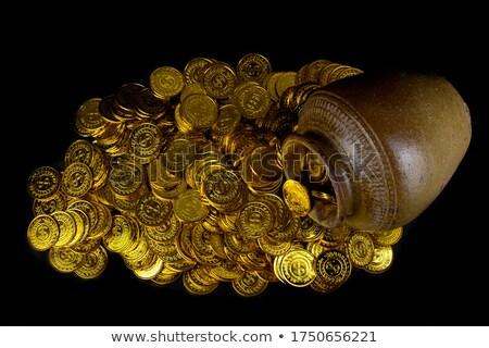 Voll Keramik Topf Goldmünzen alten Schatz Stock foto © orensila