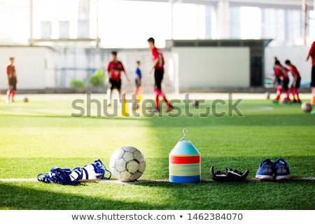 Soccer Goalkeeper Training Session. Kids Football Goalkeepers Im Stock photo © matimix