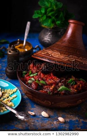 Tajin with lamb and dried fruits.style rustic Stock photo © zoryanchik