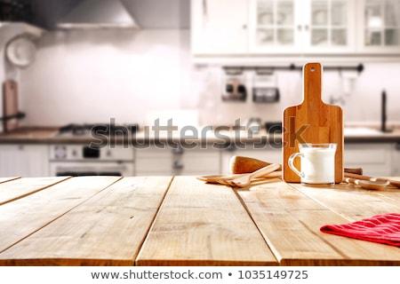 Bağbozumu cam şişeler ahşap masa arka plan Stok fotoğraf © Hochwander