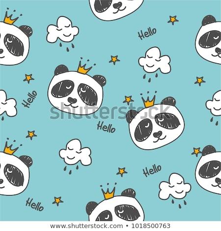 Kroki karikatür panda metin merhaba el Stok fotoğraf © Arkadivna